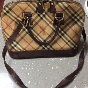 Authentic Burberry brown leather novacheck satchel